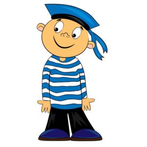 cartoon sailor kid in striped shirt.vector character