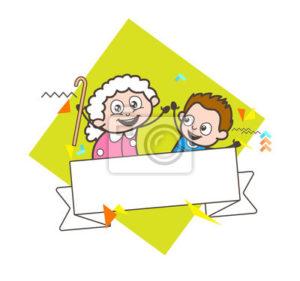 kresleny-babicka-s-chlapeckem-a-vzkaz-banner-vektorove-ilustrace-400-97011934